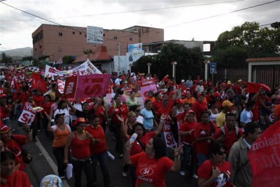 Marea Roja de las mujeres socialistas en Palavecino